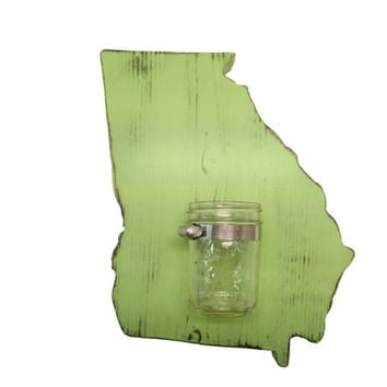 Georgia State with Mason Jar Vase Repurposed Candle holder Pictured in Moss, Pine Wood Sign Wall Decor Rustic Americana Country Chic