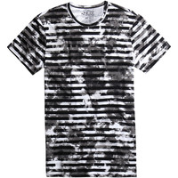 XXX RUDE Striped Bleach Wash T-Shirt