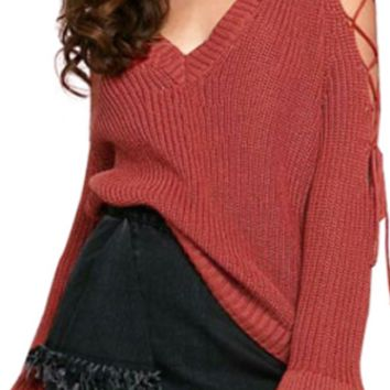 Lucky Streak Long Flare Sleeve Cut Out Lace Up Cold Shoulder V Neck Pullover Sweater - 2 Colors Available