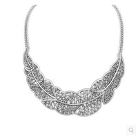 Women's Silver Tone Chain Statement Collar Leaves Choker Necklace
