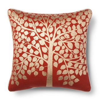 Threshold™ Foil Printed Knit Decorative Pillow - Red (Square)