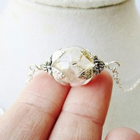 Mini Dandelion Seed Glass Orb Terrarium Necklace, Tiny Glass Orb In Bronze or Silver, Nature Inspired Bridesmaids Gifts