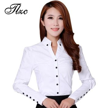 TLZC Elegant Women Career White Shirts Size S-2XL Long Sleeve Button Design Clothing 2017 Office Classic Lady Casual Blouses