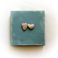 Unique Personalized Christmas Gift - Ready to Ship -  genuine Heart shaped Beach stones rocks