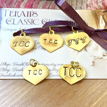 Personalized Jewelry Tag - Hand Stamped Brass Heart