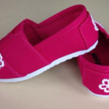 Pink Toddler Shoes - Toddler Shoes with white lace appliqué - SIZE 4