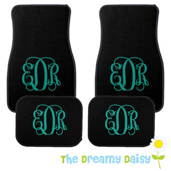 Personalized Car Floor Mats - Monogrammed Car Mats - Black Car Mats with Monogram - Custom Car Mats - Car Accessories - New Driver Gift