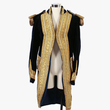 Vintage 20s Men's Velvet Coat / 1920s Stage Costume Navy Velvet Gold Bullion Uniform Jacket