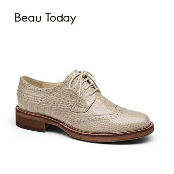 BeauToday Brogue Shoes Women Genuine Full Grain Leather Round Toe Good Quality Lady Flats Wingtip Shoes Handmade 21084