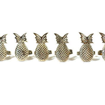 Pineapple Napkin Rings Brass Napkin Rings Brass Pineapples Napkin Holder Set of 6 Pineapple Home Decor