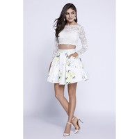 Prom Short Two Piece Set Dress Floral Print Cocktail Homecoming