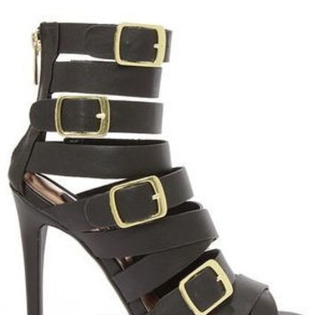 Arena Buckled Cage Heels - Black