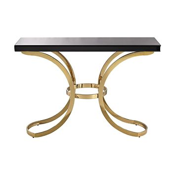 Beacon Towers Console Table In Gold Plate And Black Glass Gold Plate,Black