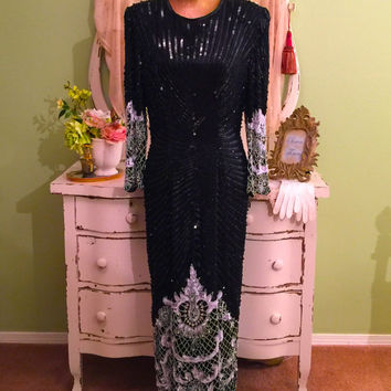XL Evening Dress, Long Beaded Gown, Black & White Formal Dress, High Fashion Gown, Hollywood Glam, Elegant Black Tie, Wedding Event Dress