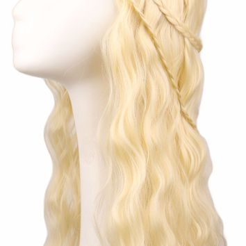 QQXCAIW Women Long Curly Costume Game of Thrones Cosplay Blonde Wig With Braids High Temperature Fiber Synthetic Hair Wigs