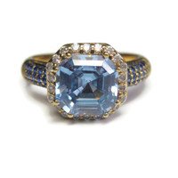 Vermeil Asscher Cut Aquamarine and Topaz Ring Size 10.5