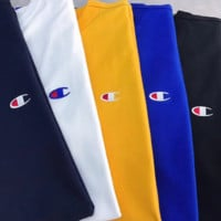 Champion basic style couples' embroidered small logo short-sleeved casual shirt for both men and women