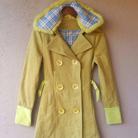 Vintage 70's Style Yellow Fur Jacket