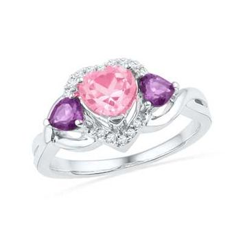 Lab-Created Pink Sapphire, Amethyst, and Diamond Accent Heart Ring in Sterling Silver