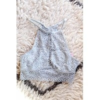 Lace High-Neck Bralette, Stone Blue