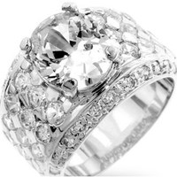 Lulani Oval Cluster Silver Engagement Ring | 5ct | Cubic Zirconia | Silver
