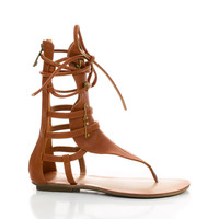 Avis2 Tan Pu by Liliana, Tan PU Strappy Mid Calf Gladiator Flat Thong Sandals