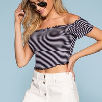 Beginnings Stripe Off The Shoulder Crop Top - Navy