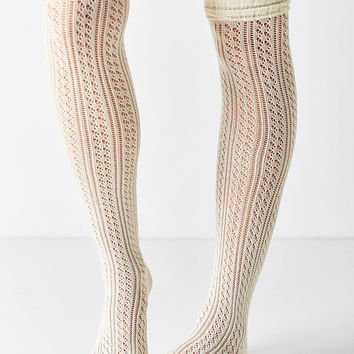 Crochet Double Cuff Over-The-Knee Sock | Urban Outfitters