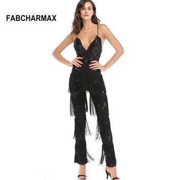 sequin fringe  jumpsuit tassels black jumpsuit