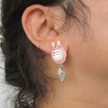 Pink Bow Stud Earrings - Pastel Goth, Fairy Kei