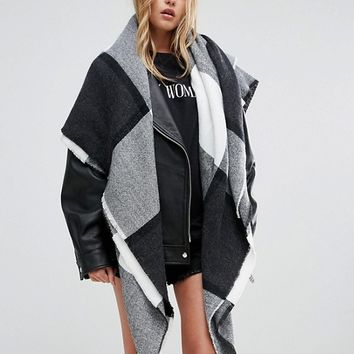 ASOS Oversized Square Scarf In Blown Up Check at asos.com
