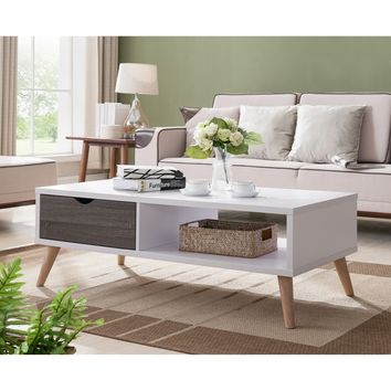 Furniture of America Arella II Mid-Century Modern 2-tone Distressed Grey White Coffee Table | Overstock.com Shopping - The Best Deals on Coffee, Sofa & End Tables
