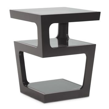 Baxton Studio Clara Black Modern End Table with 3-Tiered Glass Shelves  Set of 1