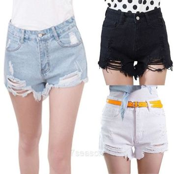 DCCKIX3 Women New Summer Fashion High Waist Sexy Denim Shorts Hole Ripped Jeans Shorts 7_S SV015846