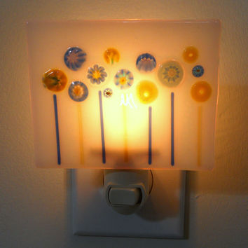 Night Light with Blue and Yellow Millefiori Flowers on White Base, Handmade Fused Glass