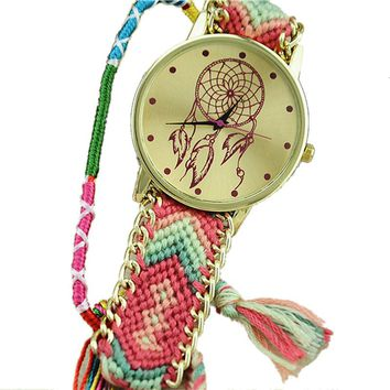 Coral and Green Dream Catcher Friendship Bracelet Watch