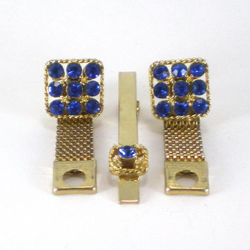 Gold Mesh Cobalt Blue Rhinestone Cufflinks  And Tie Clip Set Vintage Accessories For Him.