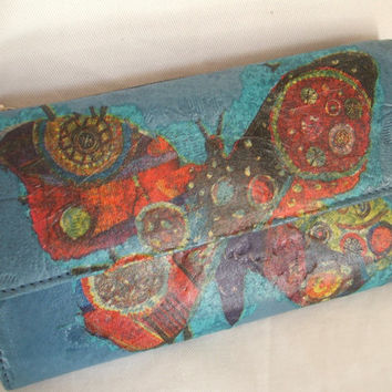 Upcycled leather purse / upcycled leather wallet by Cabrelli, butterfly purse, blue purse, decoupage purse