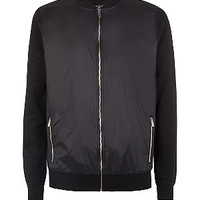 Black Contrast Sleeve Bomber Jacket