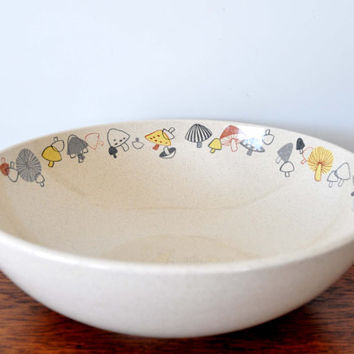 Vintage Franciscan Woodlore Serving Bowl, Mushroom Pattern, Ceramic Bowl, Large Serving Bowl