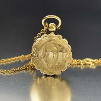 Antique Buckle Engraved Gold Fill Locket Necklace