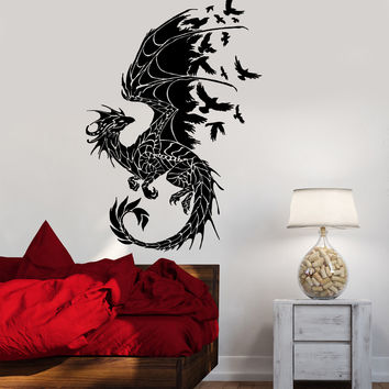 Dragon Wall Sticker  Birds Fantasy Fairytale Gothic Abstract Decor Unique Gift (z2514)