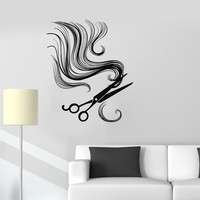 Vinyl Wall Decal Hair Scissors Barber Tools Beauty Salon Stickers (ig3339)