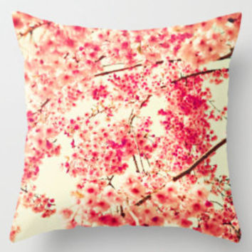 SALE Pillow cover, coral pillow, pink pillow,white pillow,girl nursery decor,cherry blossom,nursery art,french decor,red pillows,love pillow
