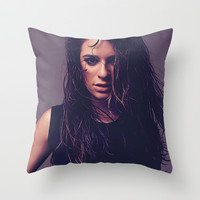 Lea michele louder Throw Pillow by swiftstore
