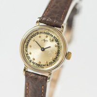 Ornamented women's watch Ray gold plated woman's wristwatch round small premium leather strap new