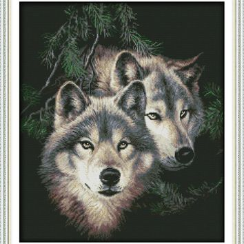 Two wolves (2) Cotton Animal DMC cross stitch kits 14ct white 11ct printed embroidery DIY handmade needle work wall home decor