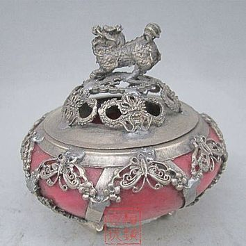 Free Shipping - Exquisite Chinese Antique Tibetan Silver Kylin Statue Inlaid  Red Jade