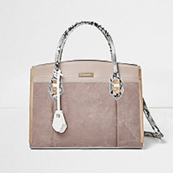 Stone snake print structured tote bag
