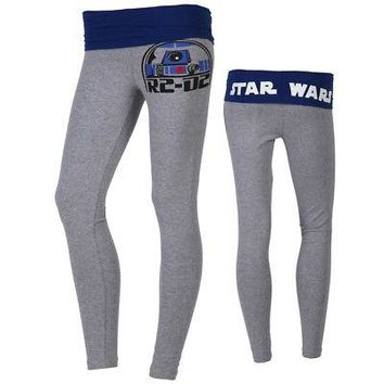 Star Wars R2-D2 Use The Force Logo Licensed Women's Yoga Pants - Grey/Blue
